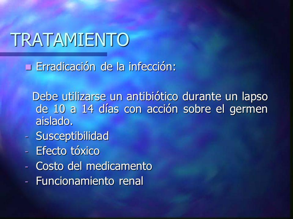 TRATAMIENTO Erradicación de la infección: