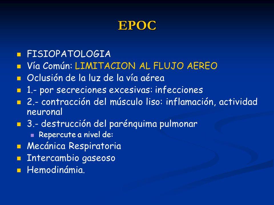 EPOC FISIOPATOLOGIA Vía Común: LIMITACION AL FLUJO AEREO