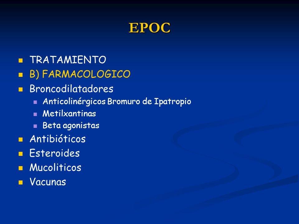 EPOC TRATAMIENTO B) FARMACOLOGICO Broncodilatadores Antibióticos