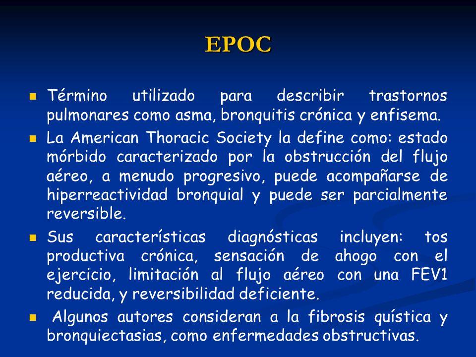 EPOC Término utilizado para describir trastornos pulmonares como asma, bronquitis crónica y enfisema.