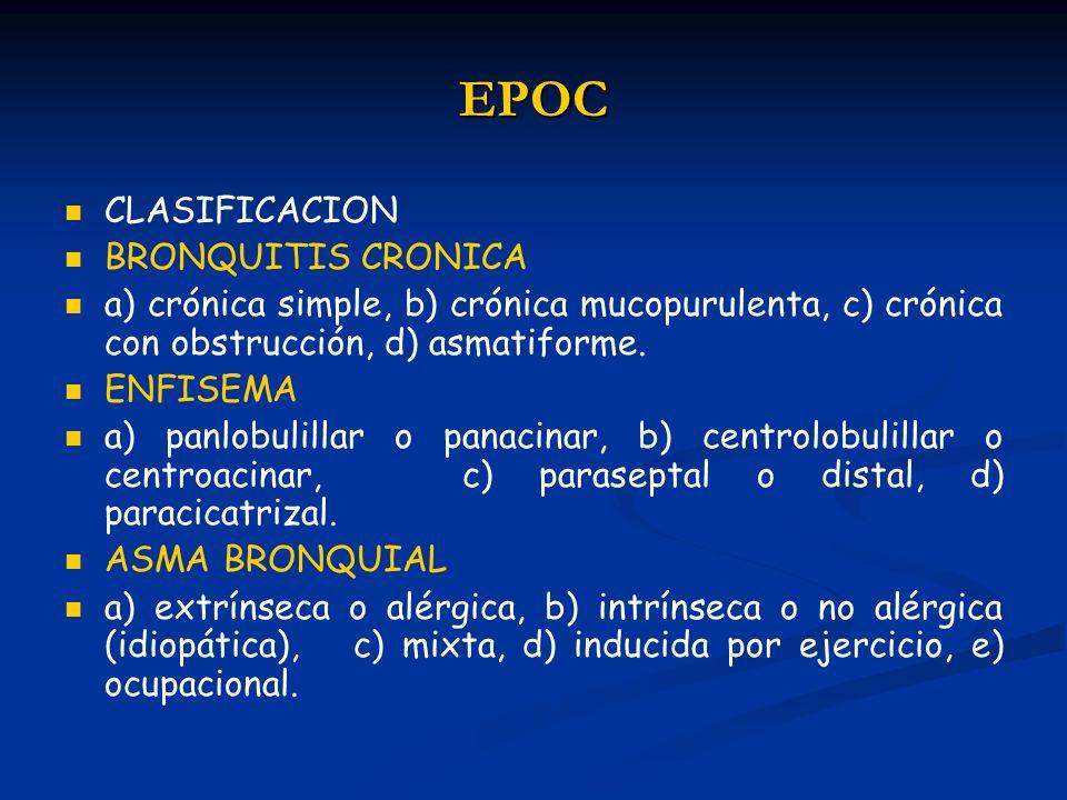 EPOC CLASIFICACION BRONQUITIS CRONICA