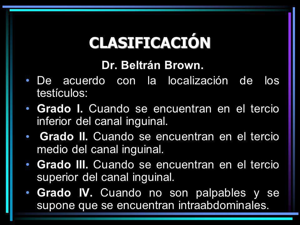 CLASIFICACIÓN Dr. Beltrán Brown.