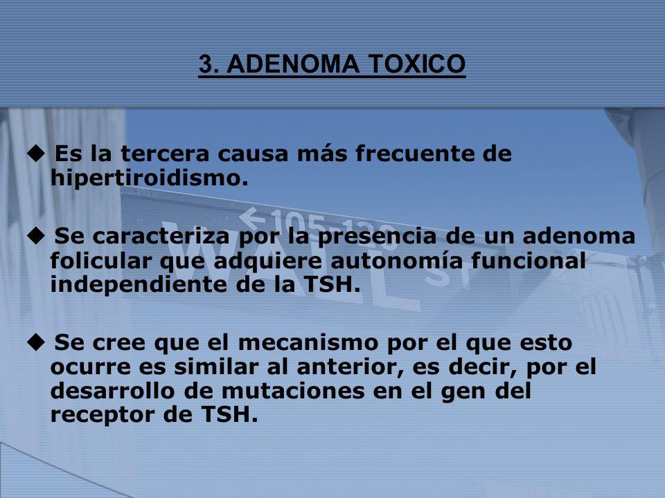 3. ADENOMA TOXICO  Es la tercera causa más frecuente de hipertiroidismo.