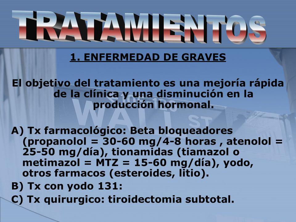 TRATAMIENTOS 1. ENFERMEDAD DE GRAVES