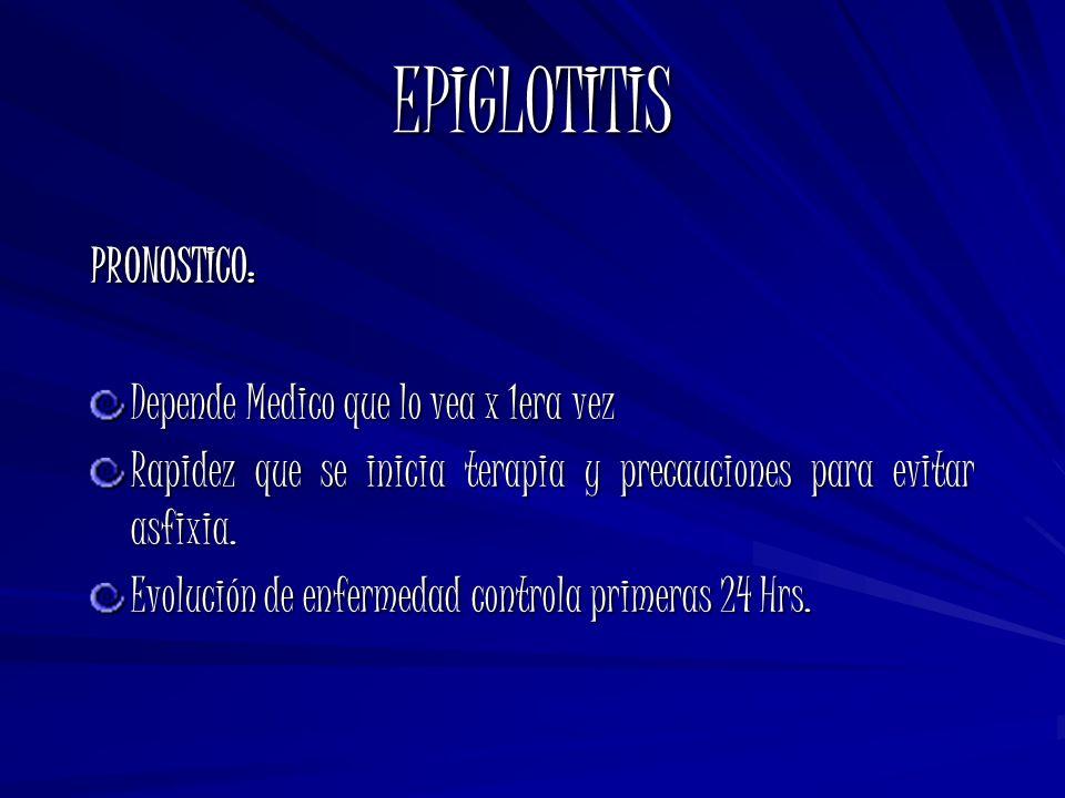 EPIGLOTITIS PRONOSTICO: Depende Medico que lo vea x 1era vez