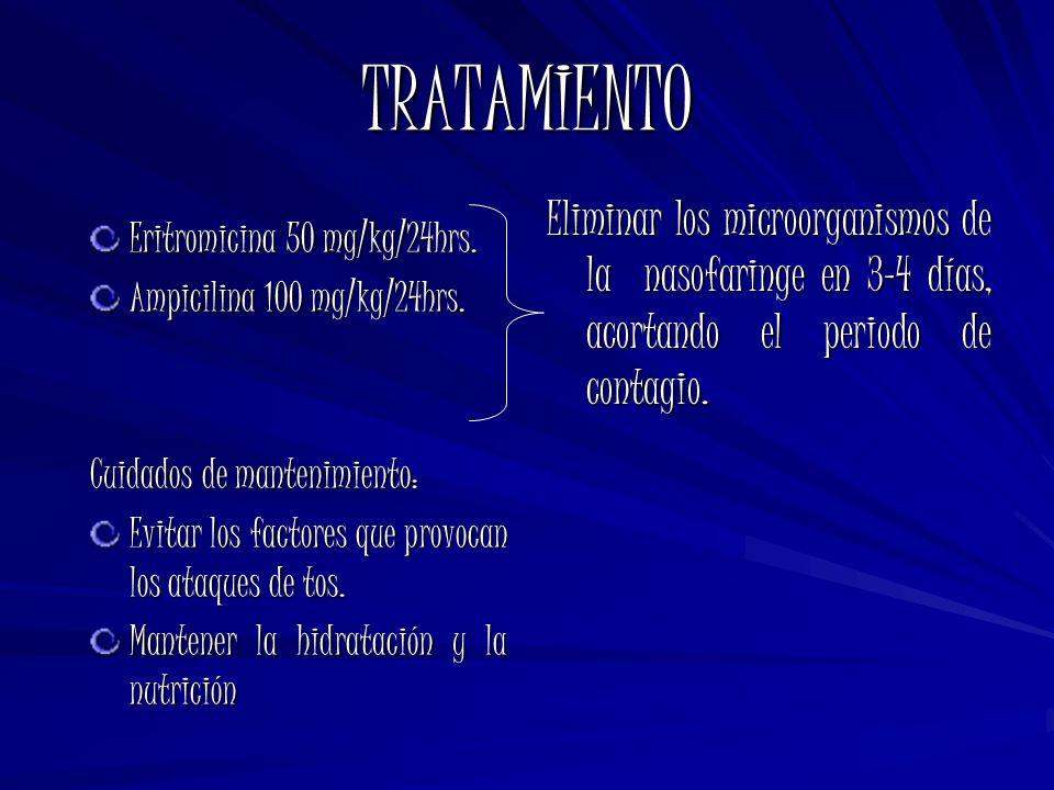TRATAMIENTO Eliminar los microorganismos de la nasofaringe en 3-4 días, acortando el periodo de contagio.