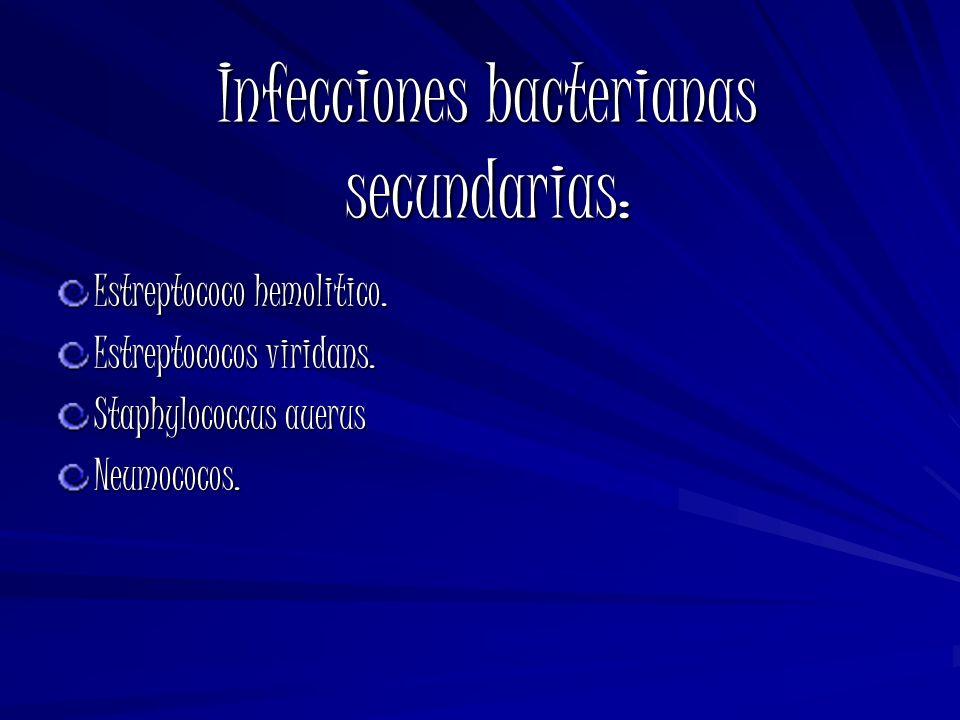 Infecciones bacterianas secundarias:
