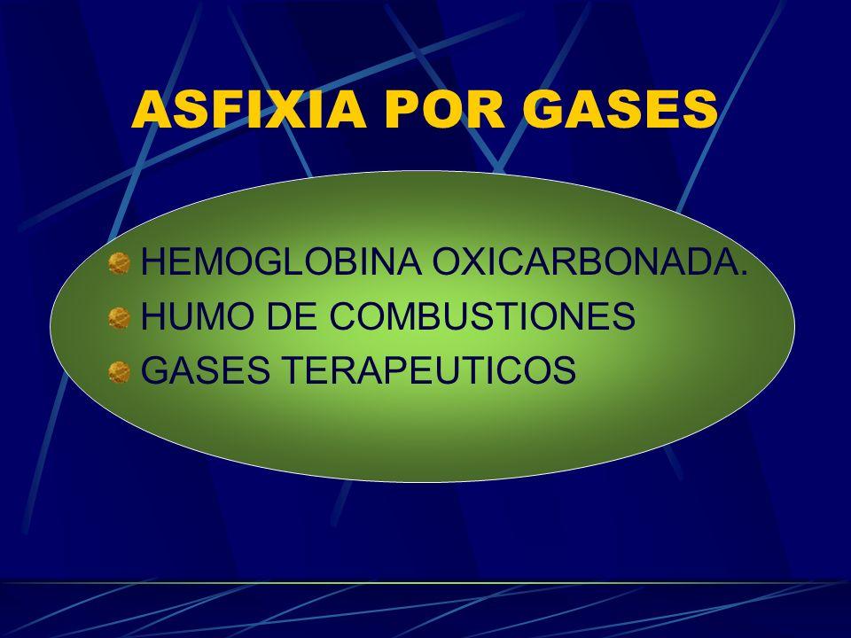 ASFIXIA POR GASES HEMOGLOBINA OXICARBONADA. HUMO DE COMBUSTIONES