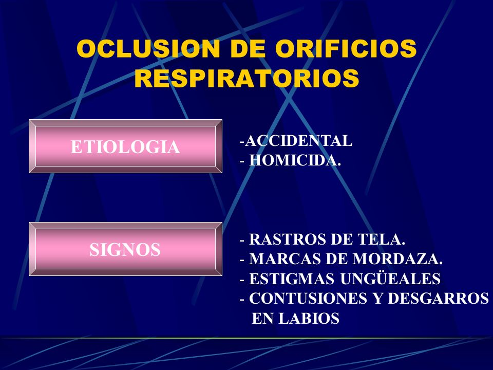 OCLUSION DE ORIFICIOS RESPIRATORIOS