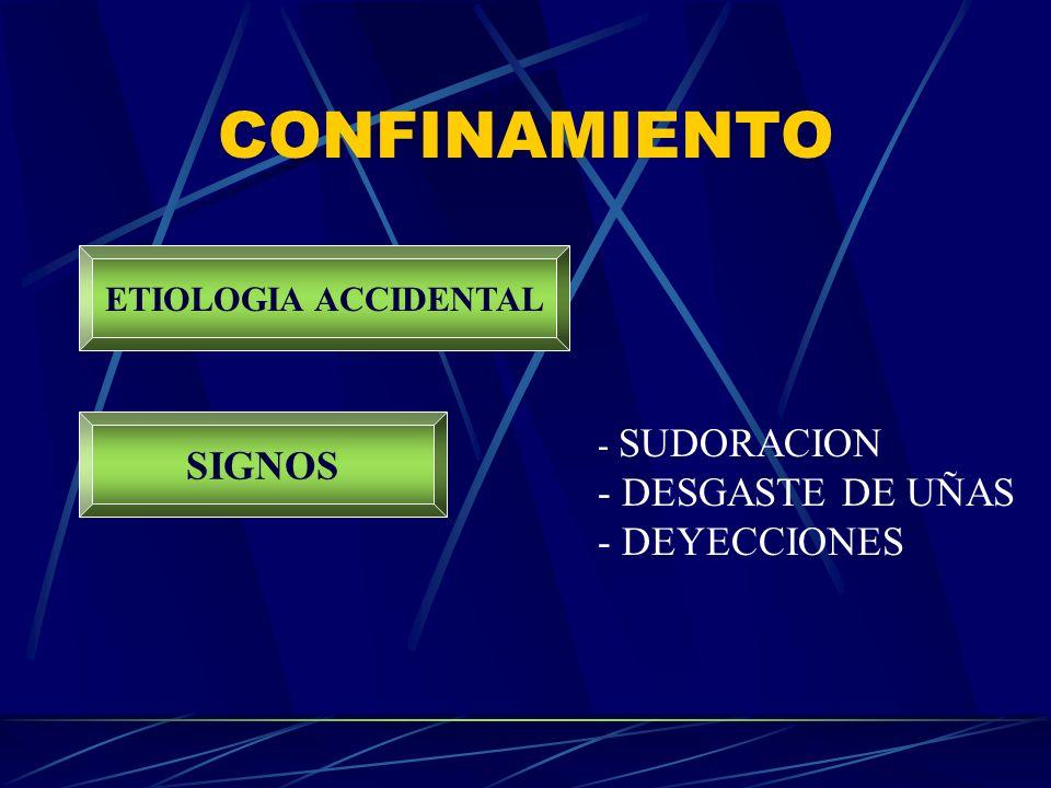 CONFINAMIENTO SIGNOS DESGASTE DE UÑAS DEYECCIONES ETIOLOGIA ACCIDENTAL