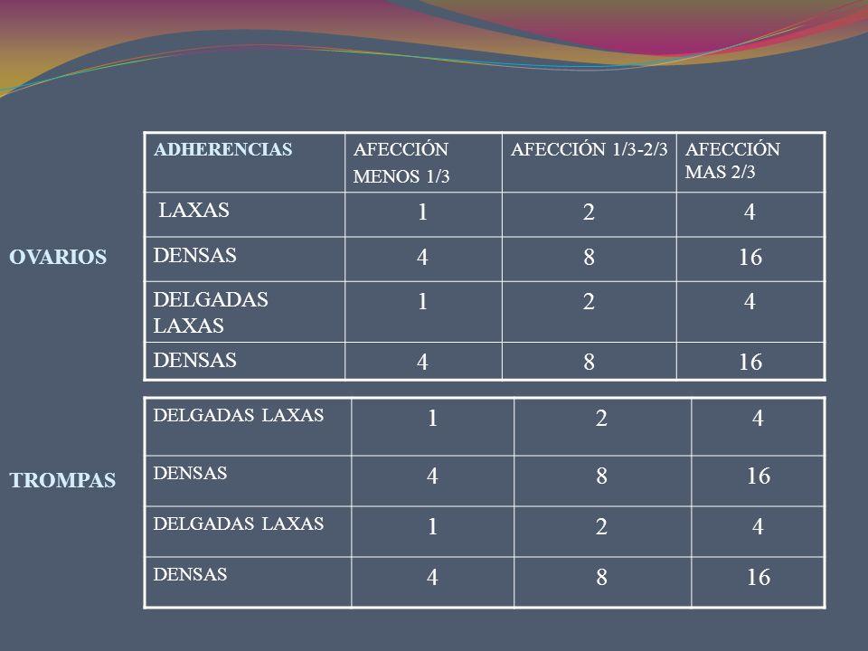 1 2 4 8 16 1 2 4 8 16 LAXAS DENSAS DELGADAS LAXAS OVARIOS TROMPAS