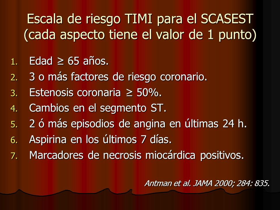 Escala de riesgo TIMI para el SCASEST (cada aspecto tiene el valor de 1 punto)