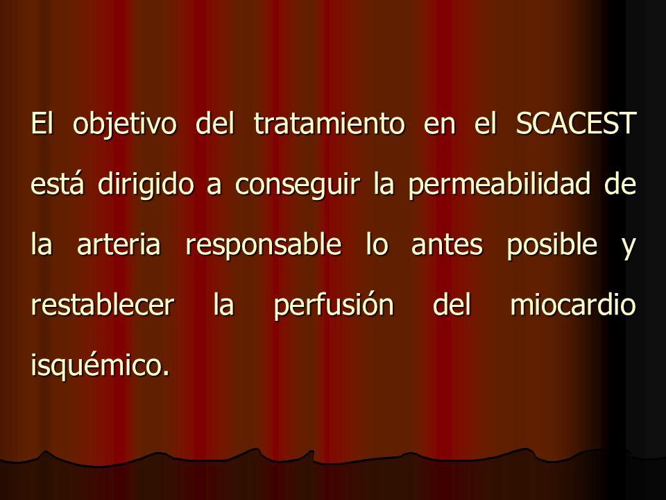 El objetivo del tratamiento en el SCACEST está dirigido a conseguir la permeabilidad de la arteria responsable lo antes posible y restablecer la perfusión del miocardio isquémico.