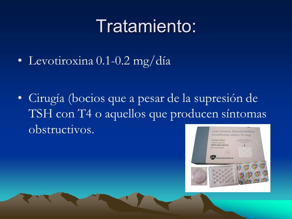 Tratamiento: Levotiroxina 0.1-0.2 mg/día