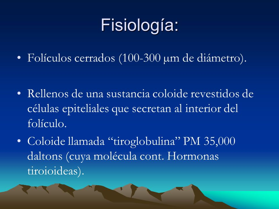 Fisiología: Folículos cerrados (100-300 µm de diámetro).