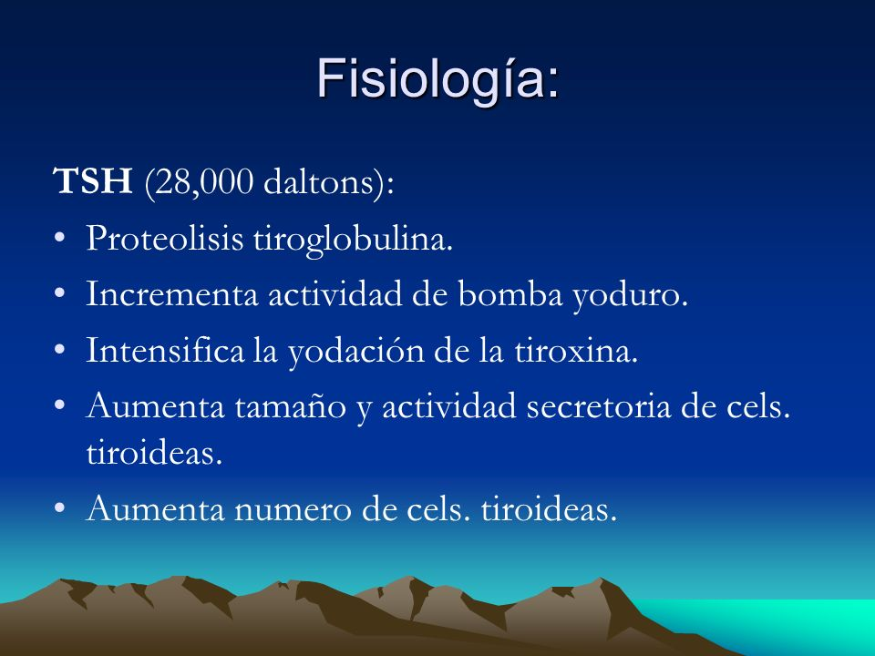 Fisiología: TSH (28,000 daltons): Proteolisis tiroglobulina.