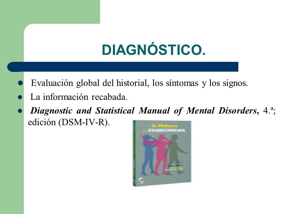 DIAGNÓSTICO. Evaluación global del historial, los síntomas y los signos. La información recabada.