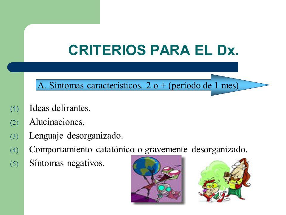 A. Síntomas característicos. 2 o + (período de 1 mes)