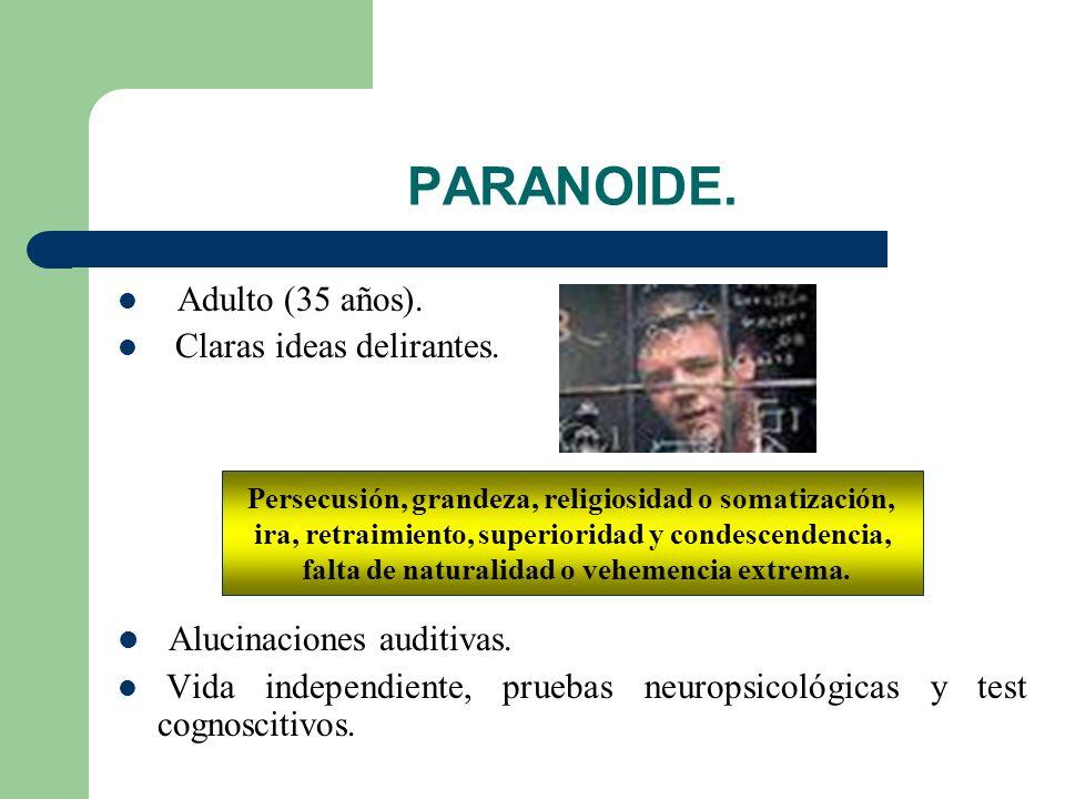 PARANOIDE. Alucinaciones auditivas. Adulto (35 años).