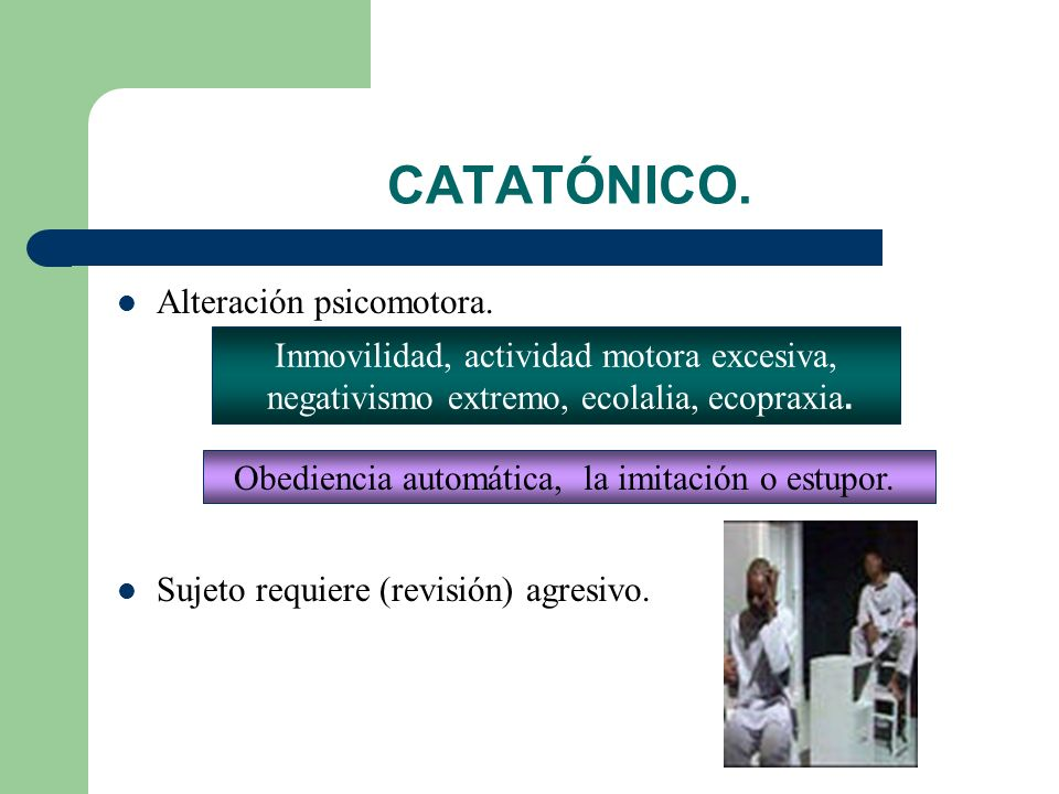 CATATÓNICO. Alteración psicomotora.