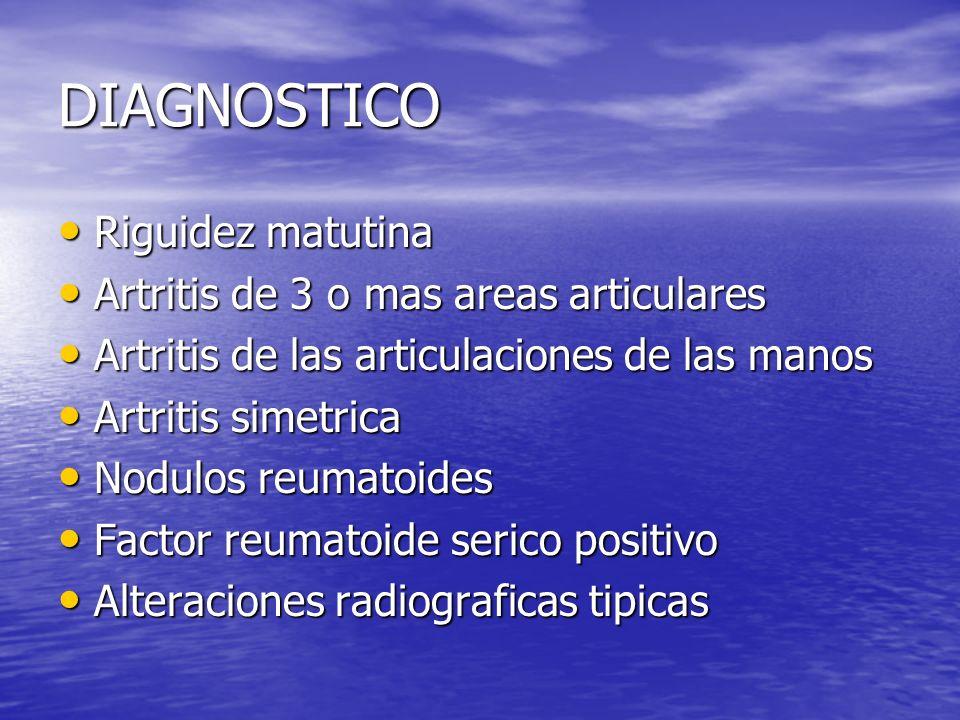 DIAGNOSTICO Riguidez matutina Artritis de 3 o mas areas articulares