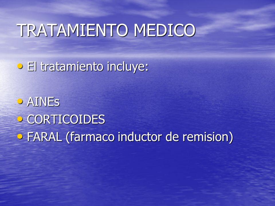 TRATAMIENTO MEDICO El tratamiento incluye: AINEs CORTICOIDES