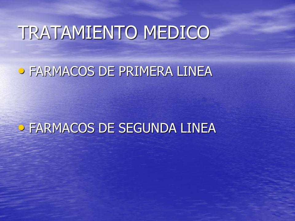 TRATAMIENTO MEDICO FARMACOS DE PRIMERA LINEA FARMACOS DE SEGUNDA LINEA