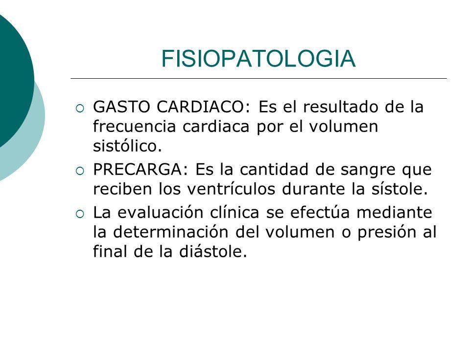 FISIOPATOLOGIA GASTO CARDIACO: Es el resultado de la frecuencia cardiaca por el volumen sistólico.