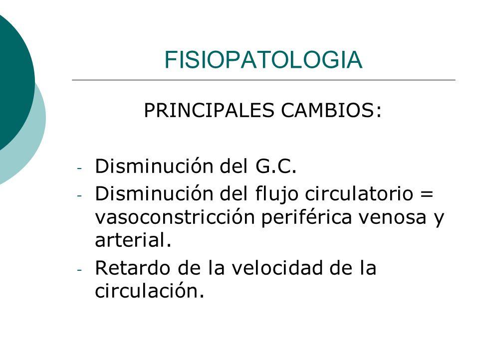 FISIOPATOLOGIA PRINCIPALES CAMBIOS: Disminución del G.C.