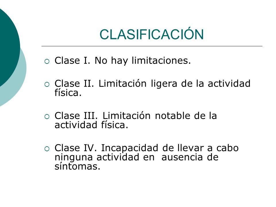 CLASIFICACIÓN Clase I. No hay limitaciones.