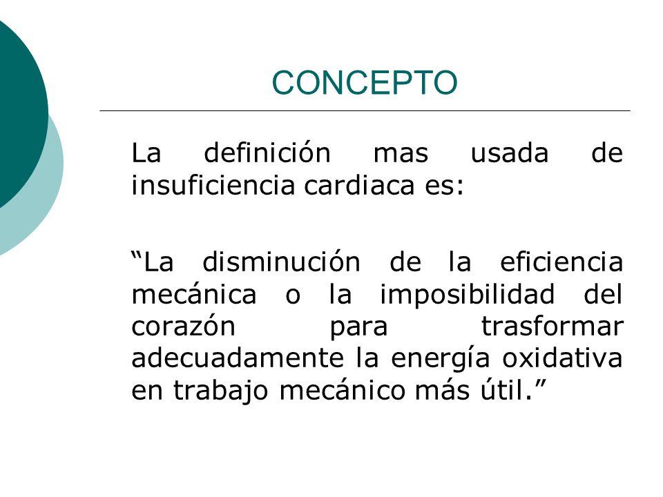 CONCEPTO La definición mas usada de insuficiencia cardiaca es: