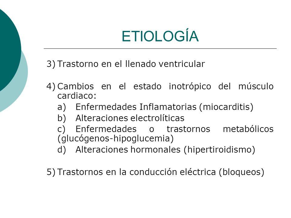 ETIOLOGÍA 3) Trastorno en el llenado ventricular