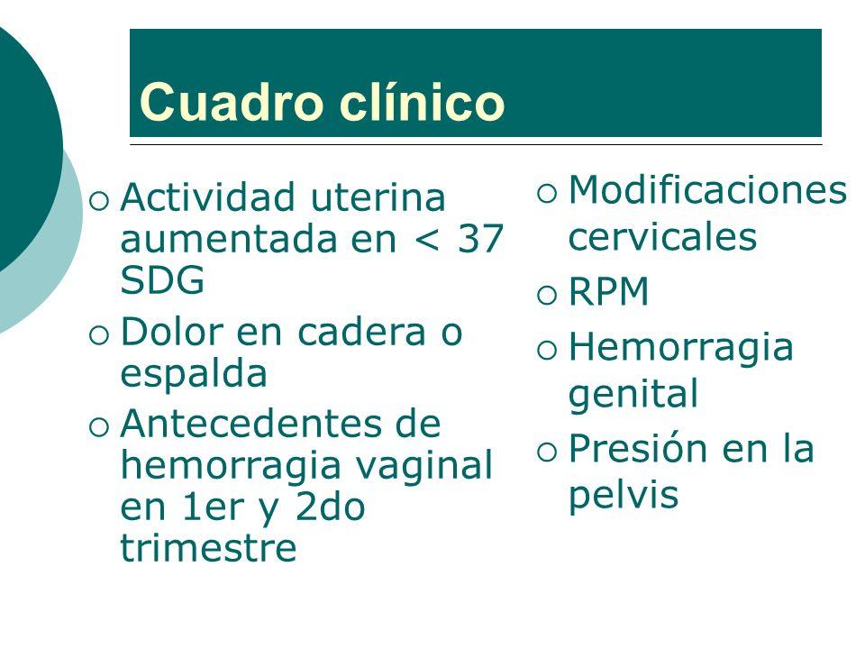 Cuadro clínico Modificaciones cervicales