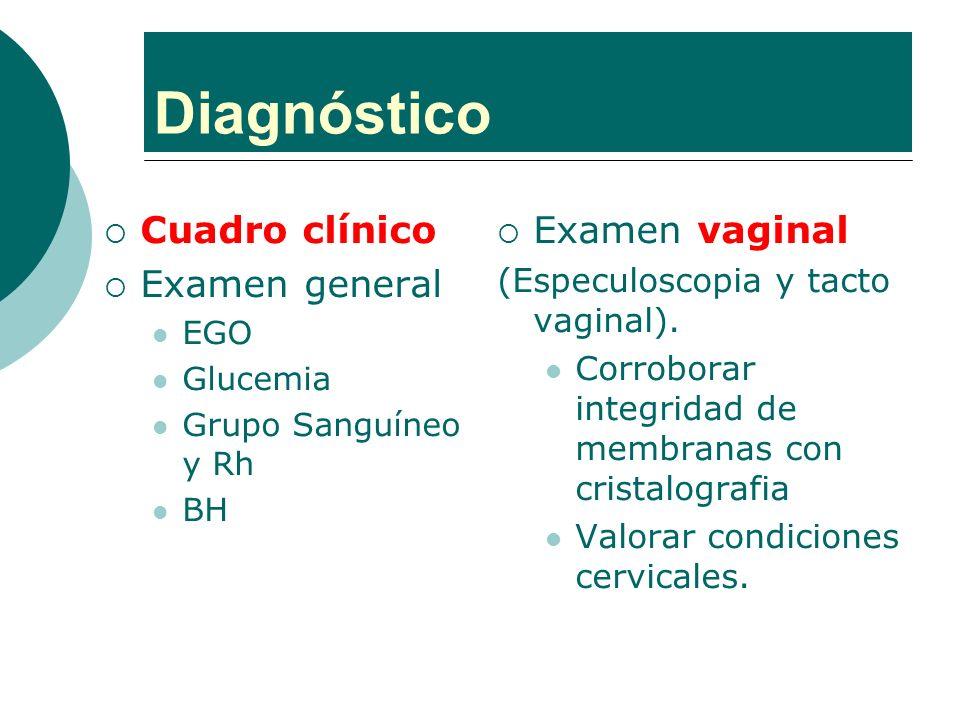 Diagnóstico Cuadro clínico Examen general Examen vaginal
