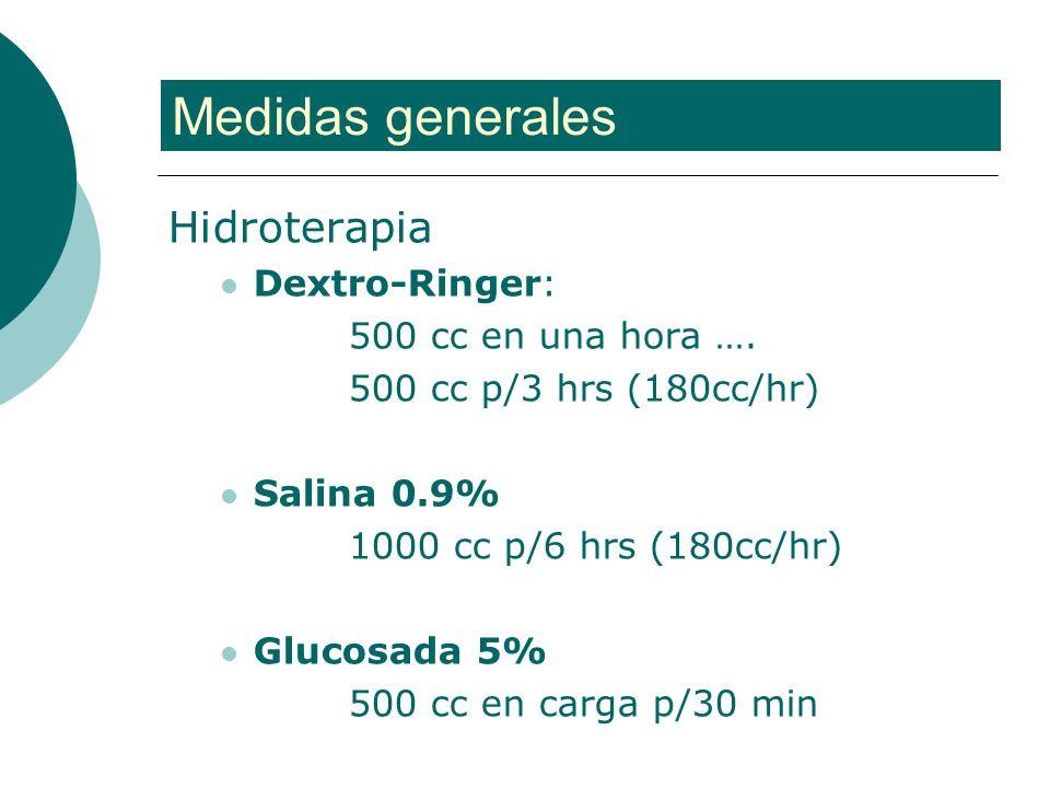 Medidas generales Hidroterapia Dextro-Ringer: 500 cc en una hora ….