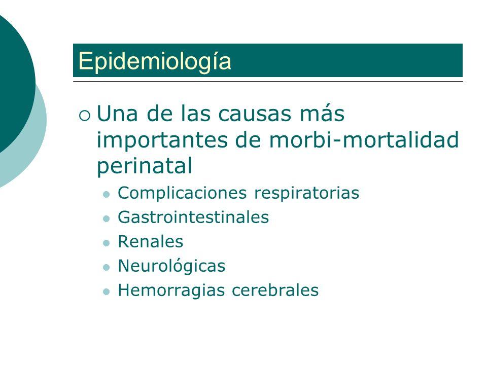 Epidemiología Una de las causas más importantes de morbi-mortalidad perinatal. Complicaciones respiratorias.