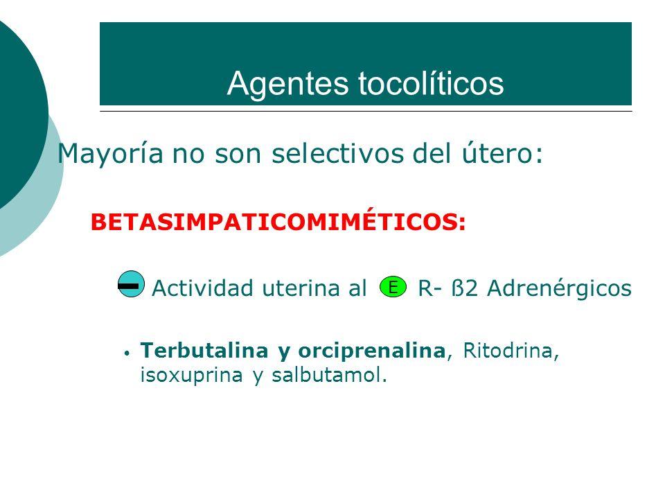 Agentes tocolíticos Mayoría no son selectivos del útero: