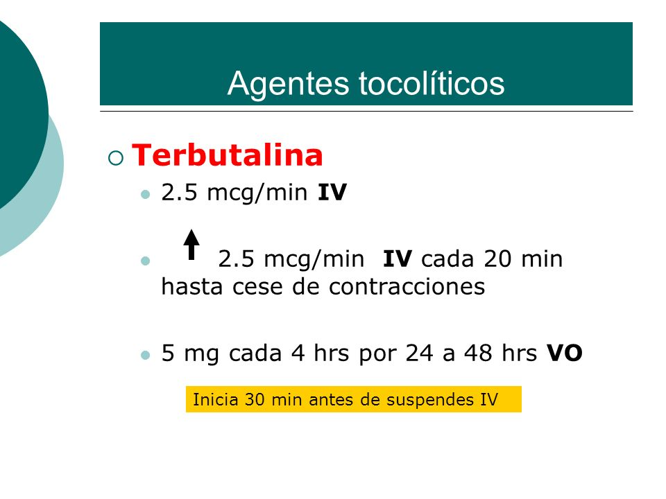 Agentes tocolíticos Terbutalina 2.5 mcg/min IV