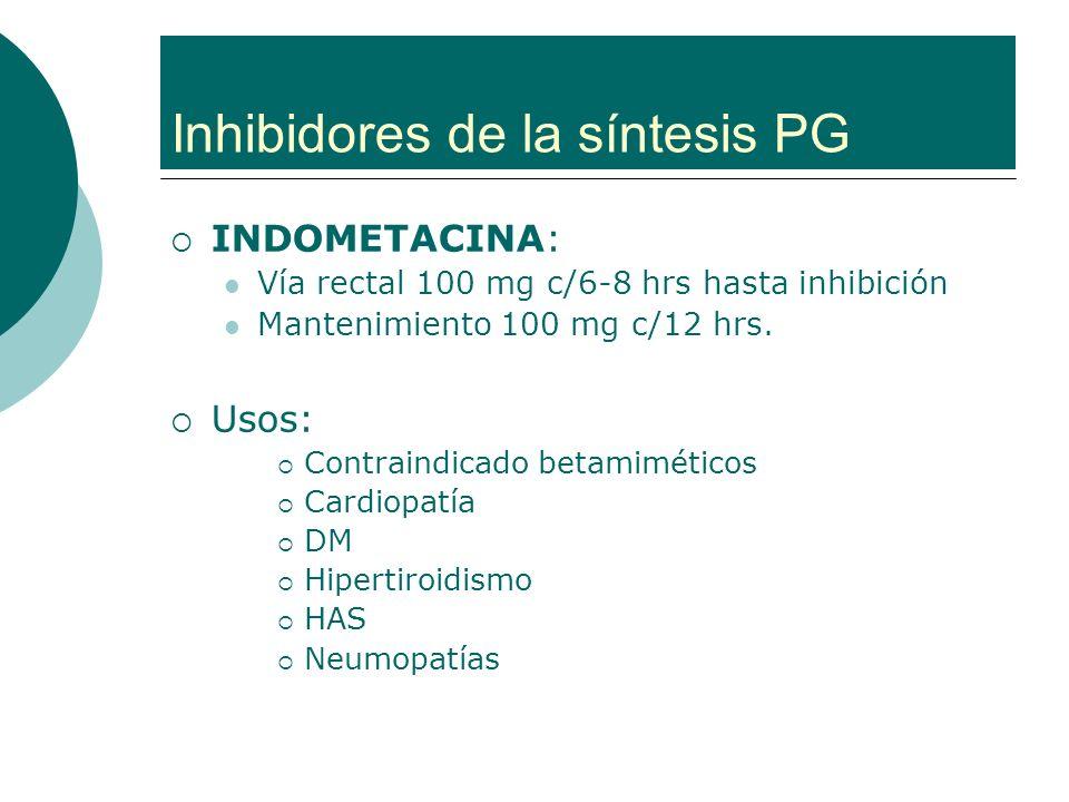 Inhibidores de la síntesis PG