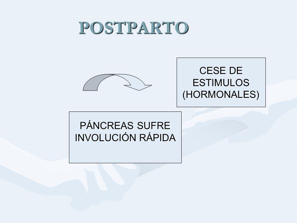 POSTPARTO CESE DE ESTIMULOS (HORMONALES) PÁNCREAS SUFRE