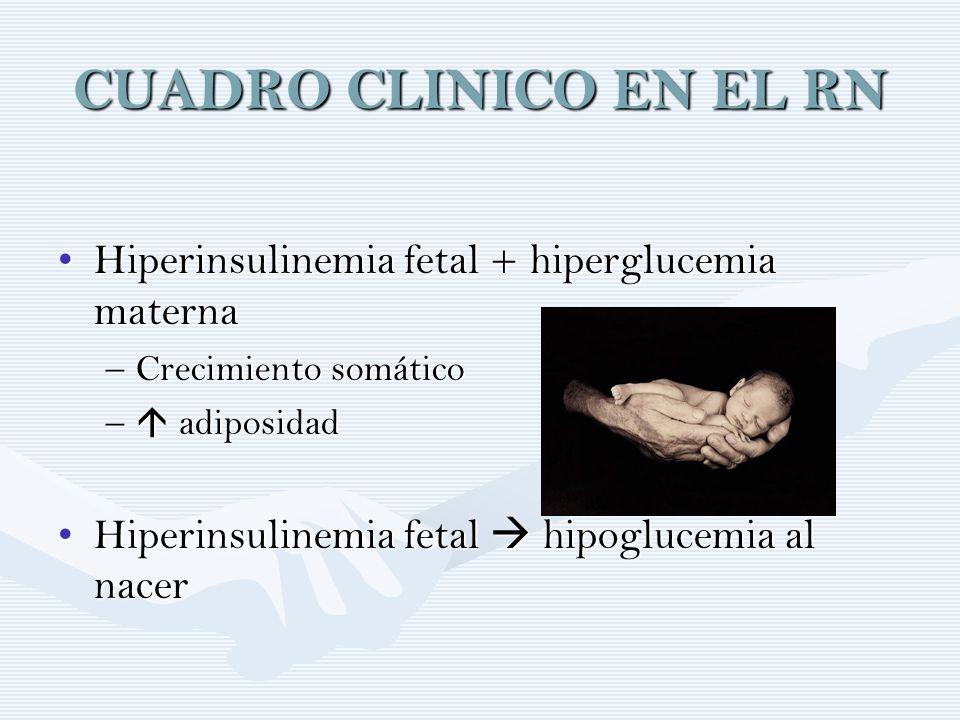 CUADRO CLINICO EN EL RN Hiperinsulinemia fetal + hiperglucemia materna