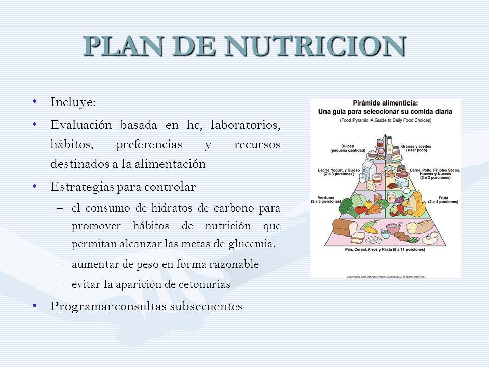 PLAN DE NUTRICION Incluye: