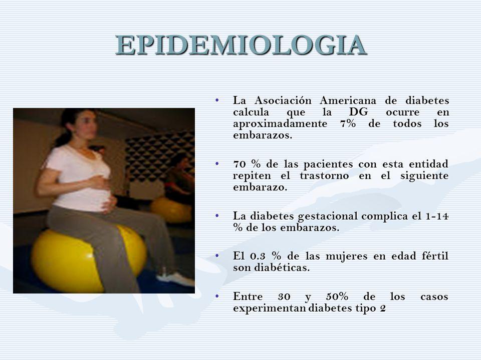 EPIDEMIOLOGIA La Asociación Americana de diabetes calcula que la DG ocurre en aproximadamente 7% de todos los embarazos.