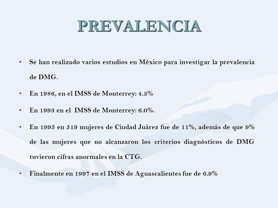 PREVALENCIA Se han realizado varios estudios en México para investigar la prevalencia de DMG. En 1986, en el IMSS de Monterrey: 4.3%