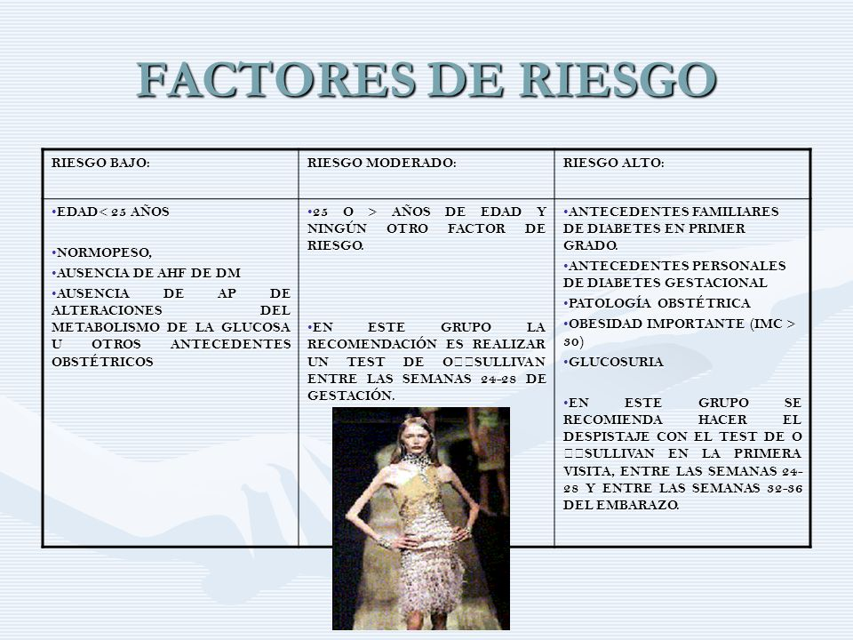 FACTORES DE RIESGO RIESGO BAJO: RIESGO MODERADO: RIESGO ALTO: