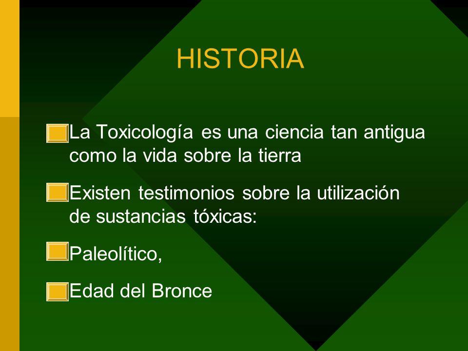 HISTORIA La Toxicología es una ciencia tan antigua como la vida sobre la tierra. Existen testimonios sobre la utilización de sustancias tóxicas: