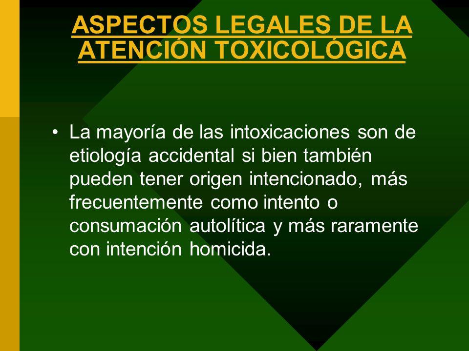 ASPECTOS LEGALES DE LA ATENCIÓN TOXICOLÓGICA