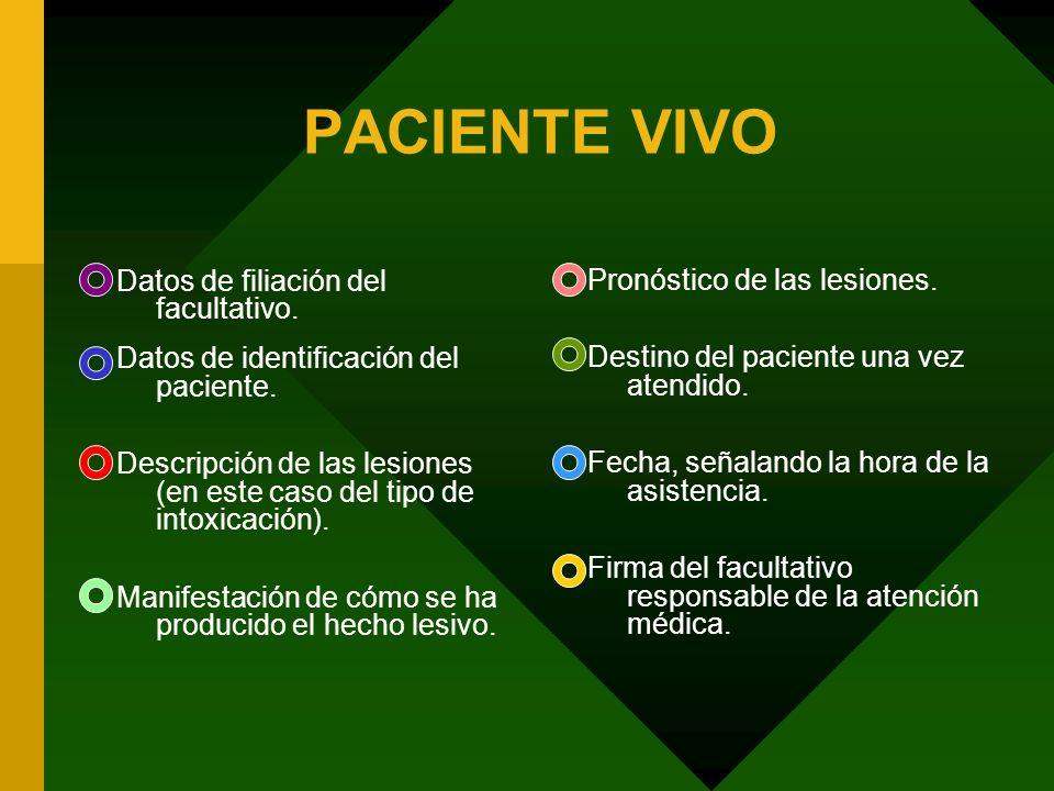 PACIENTE VIVO Datos de filiación del facultativo.
