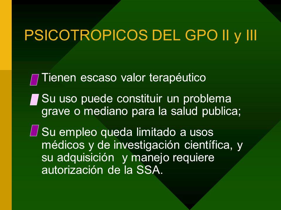 PSICOTROPICOS DEL GPO II y III