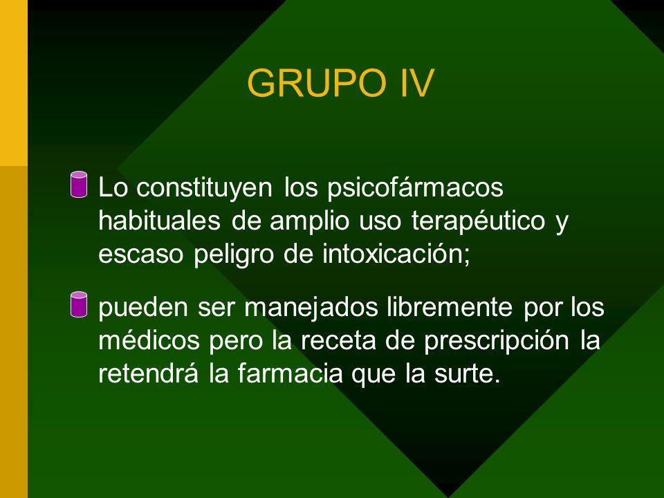 GRUPO IV Lo constituyen los psicofármacos habituales de amplio uso terapéutico y escaso peligro de intoxicación;